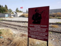 The Karkamis border gate - the Turkish town was reportedly hit by mortar rounds