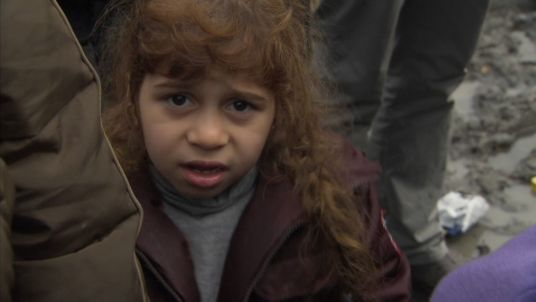 A child refugee in the Calais 'Jungle' camp