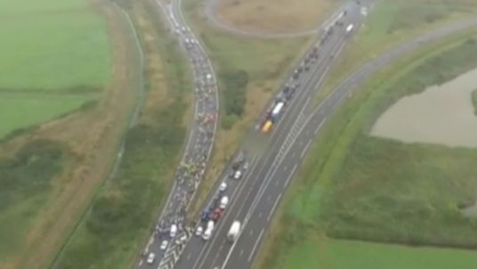 Drivers stage a 'go slow' demonstration on the A16 to Calais
