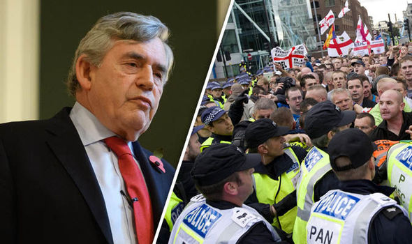 Gordon Brown and protesters